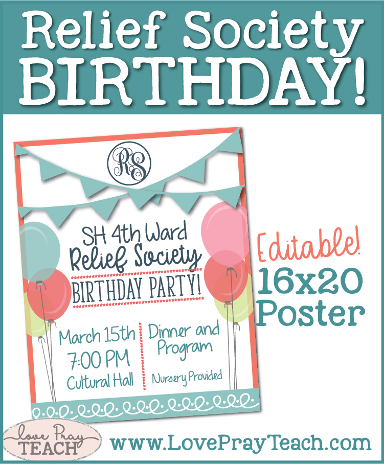 LDS Relief Society Birthday Poster, invitation, and cupcake toppers! www.LovePrayTeach.com