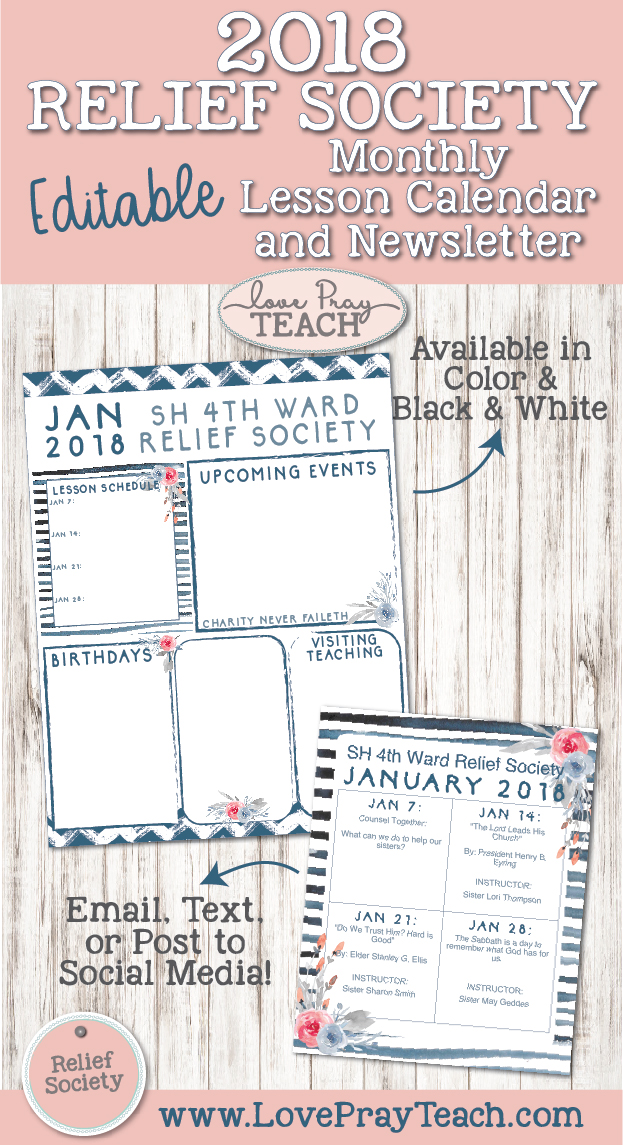 2018 Relief Society Newsletter and Lesson Schedule Calendar by www.LovePrayTeach.com
