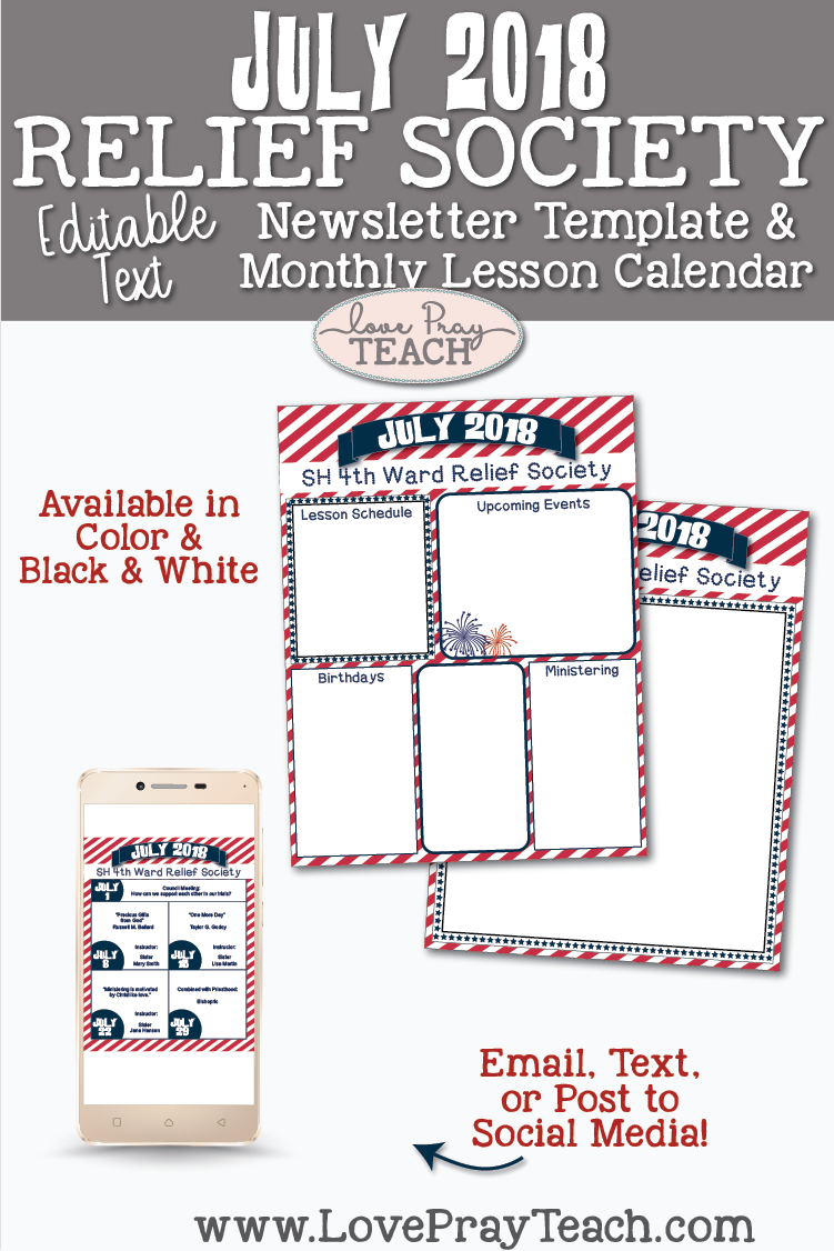 July 2018 Editable Newsletter Template and Lesson Calendar Template by www.LovePrayTeach.com