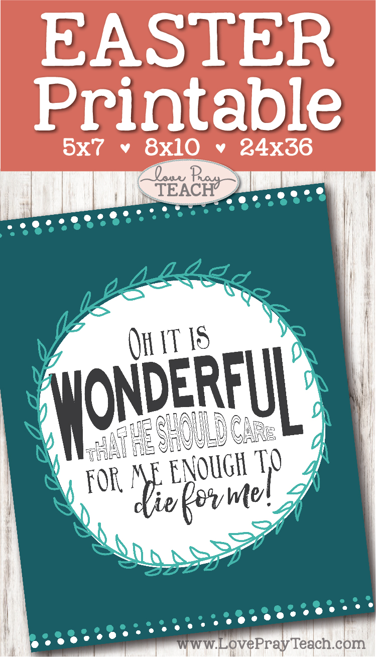 "Easter Printable ""I Stand All Amazed"" lyrics - perfect gift for your Visiting Teachers! Includes sizes 24x36; 8x10; and 5x7  www.LovePrayTeach.com"