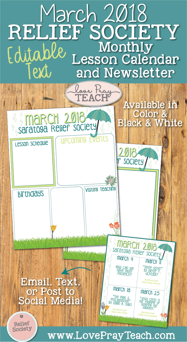 March 2018 Editable Relief Society Newsletter and Lesson Calendar by www.LovePrayTeach.com