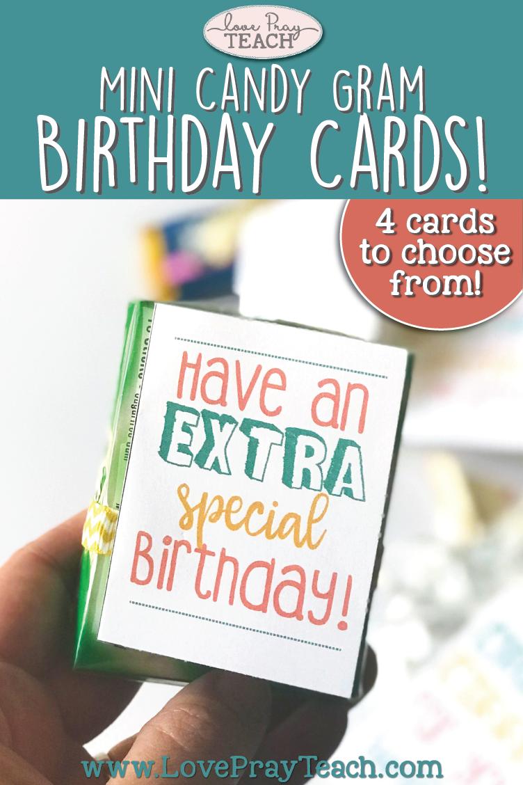 Mini Candy Gram Birthday Cards