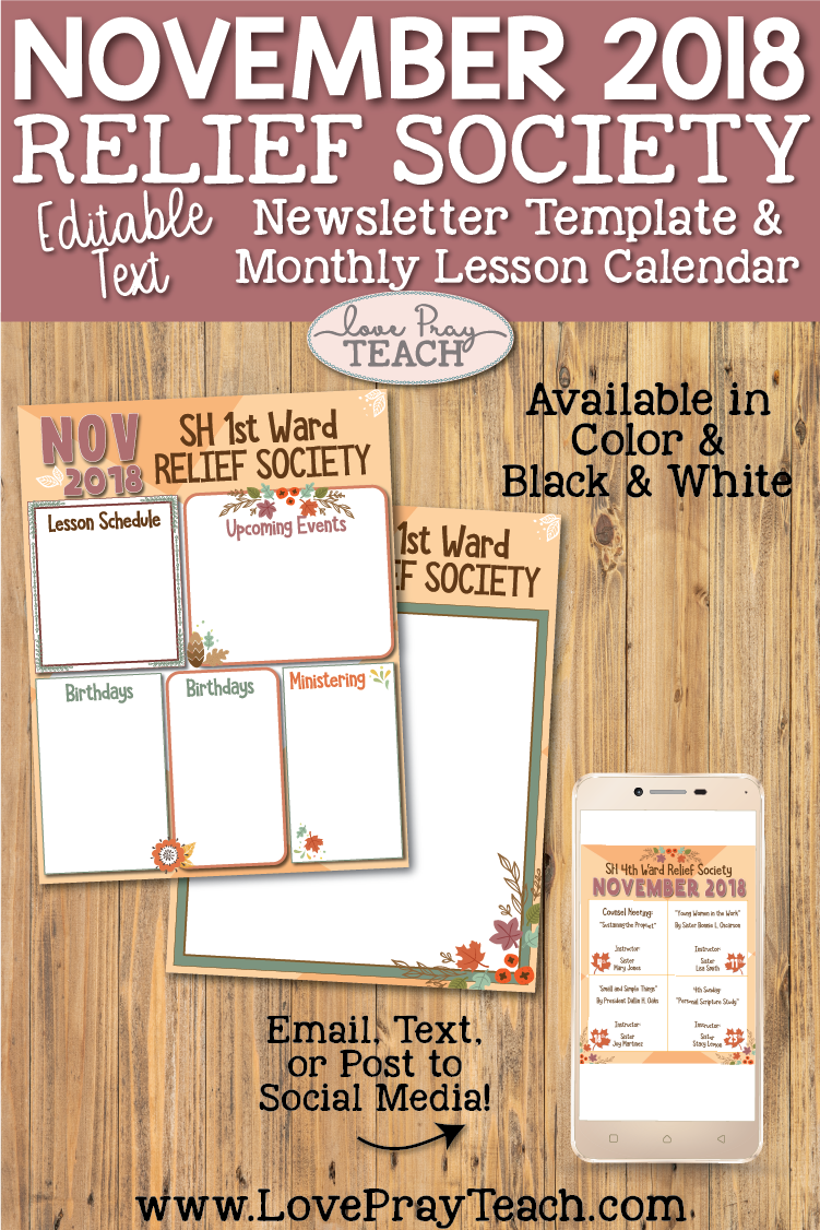 November 2018 Newsletter Template and Relief Society Lesson Schedule Calendar