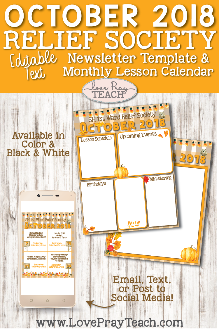 October 2018 Newsletter Template and Relief Society lesson schedule calendar www.LovePrayTeach.com