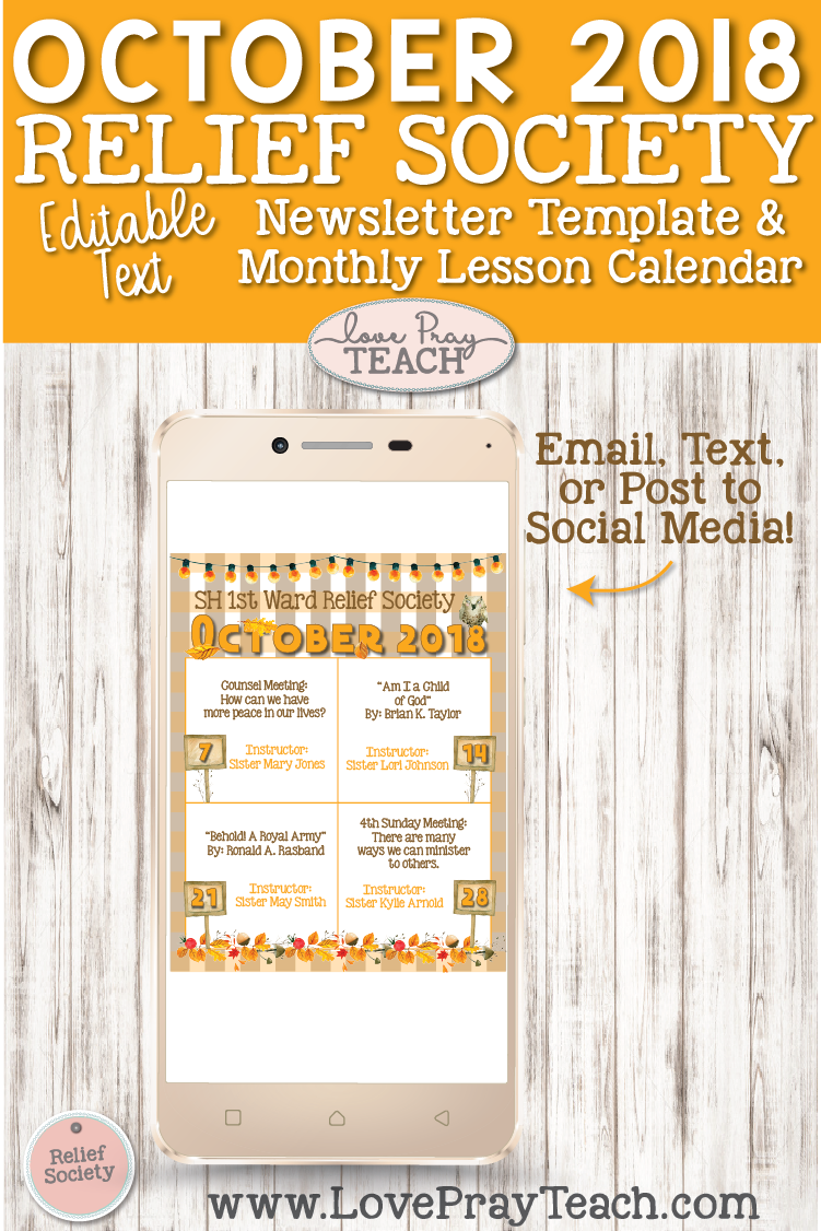 October 2018 LDS Relief Society Lesson Schedule Calendar to email, text, or post to social media! www.LovePrayTeach.com