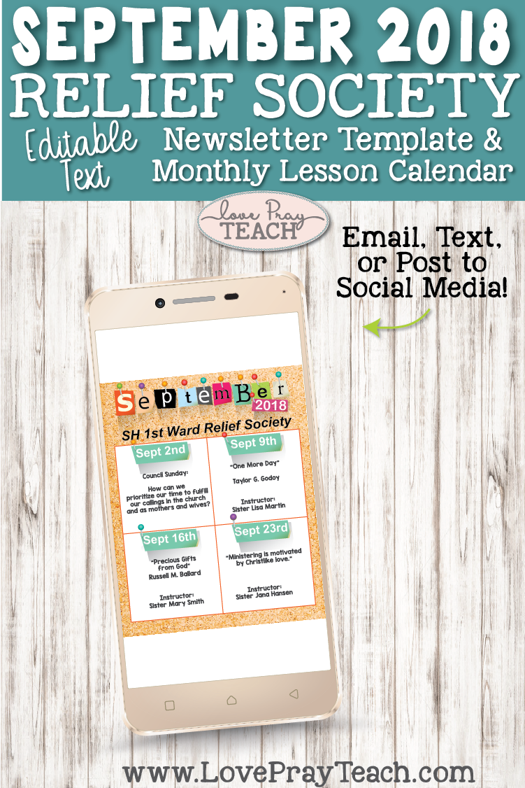 September 2018 Editable Newsletter Template and Relief Society lesson schedule calendar on www.LovePrayTeach.com