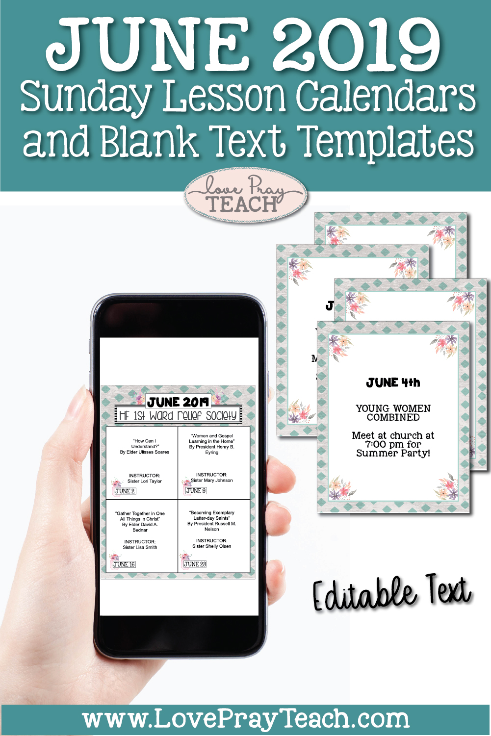 June 2019 Editable Newsletter Template and Sunday Lesson Calendars for Relief Society and Young Women