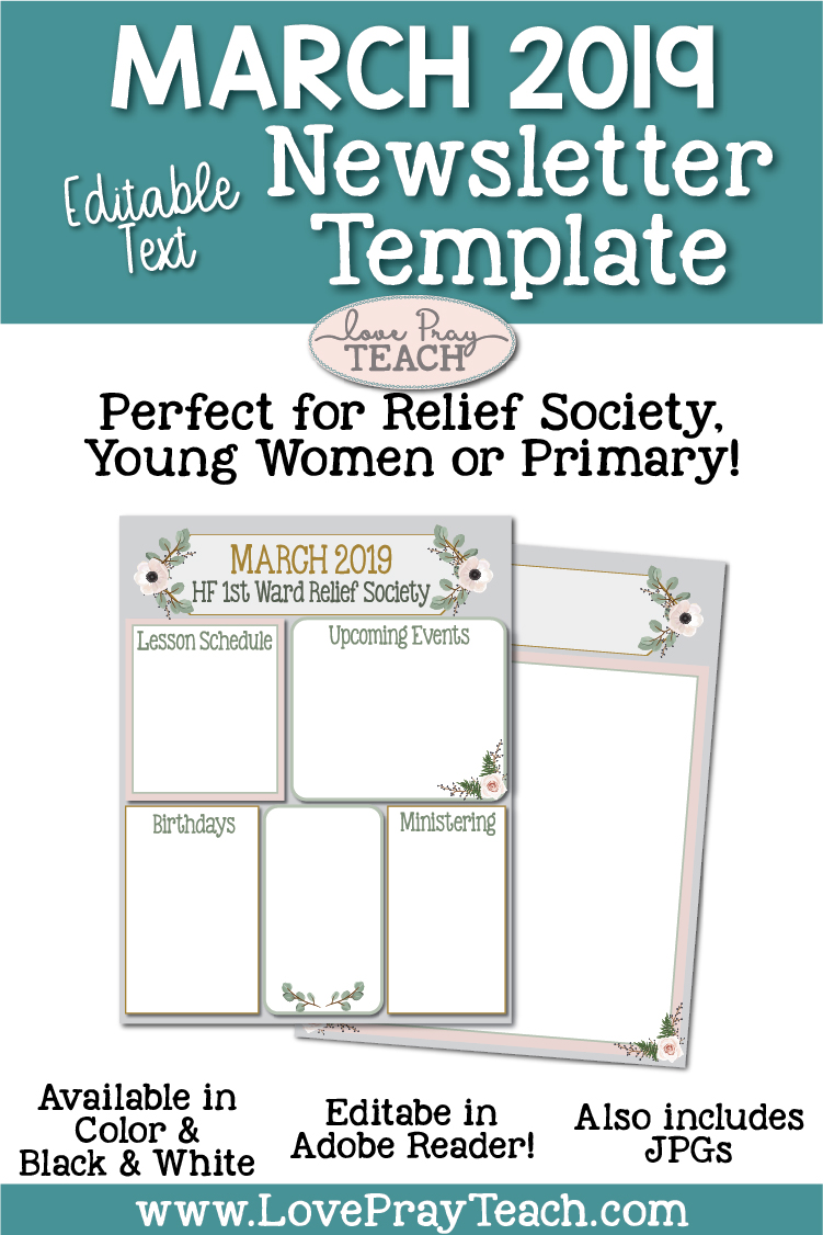 March 2019 Editable Newsletter Template www.LovePrayTeach.com