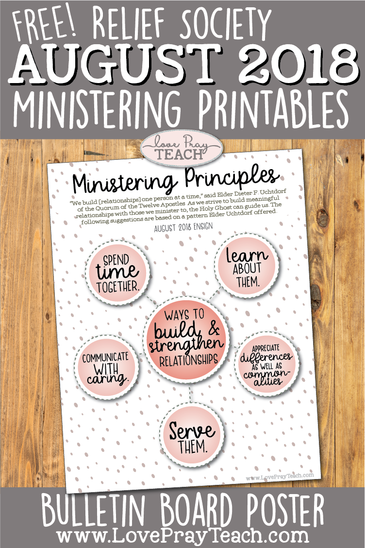 Free LDS Ministering Principles Bulletin Board Poster for Relief Society www.LovePrayTeach.com