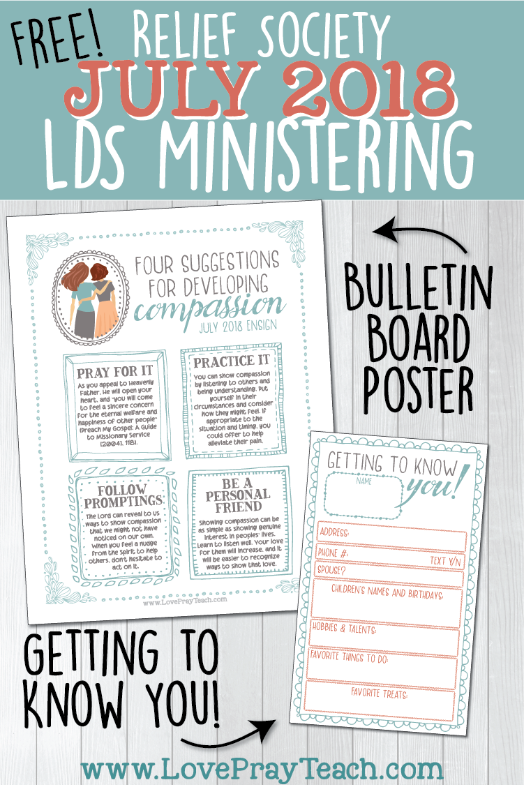 Free Relief Society Ministering Bulletin Board Poster and Getting to Know You printable card! www.LovePrayTeach.com
