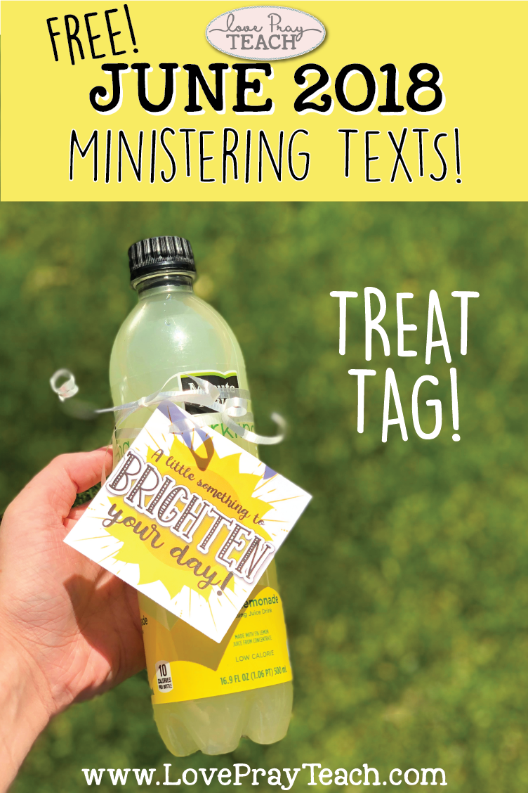 "Free Treat tag ""Just a little something to brighten your day!"" LDS Relief Society Ministering Printable www.LovePrayTeach.com"