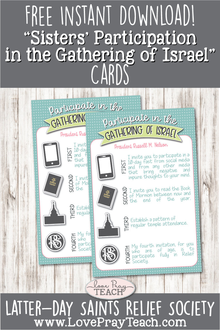 "Free Printables for ""Sisters' Participation in the Gathering of Israel"" Including poster for Relief Society bulletin board and handouts for Ministering Sisters! www.LovePrayTeach.com"