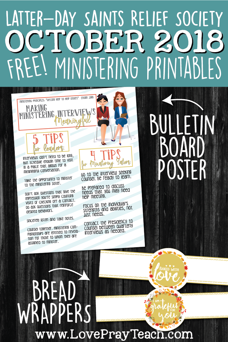 FREE Fall bread wrapper printables and October 2018 LDS Relief Society bulletin board poster on www.LovePrayteach.com