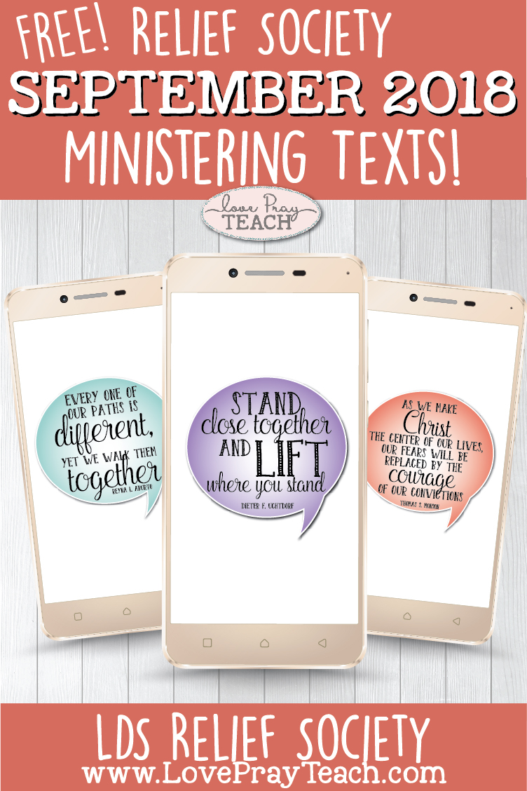 September 2018 Ministering LDS Relief Society Free Printables