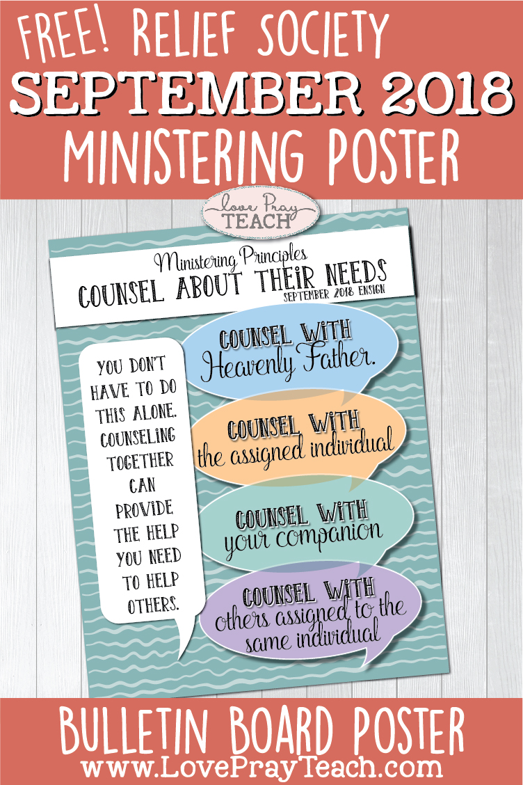 Free September 2018 Relief Society Ministering Poster for Latter-day Saints! Hang up on your Relief Society bulletin or add it to your monthly newsletter! www.LovePrayTeach.com