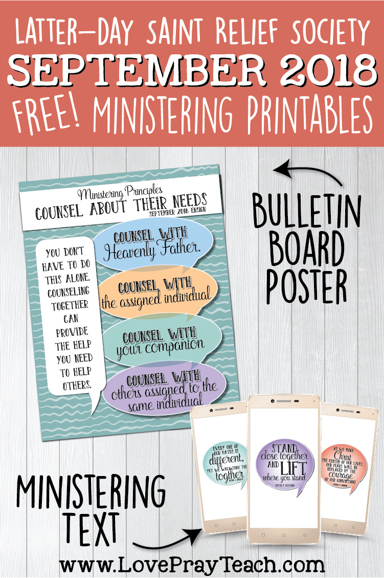 FREE September 2018 Relief Society Ministering Printable poster and text messages for Latter-day Saints www.LovePrayTeach.com #LDS #LovePrayTeach #ReliefSociety #Ministering