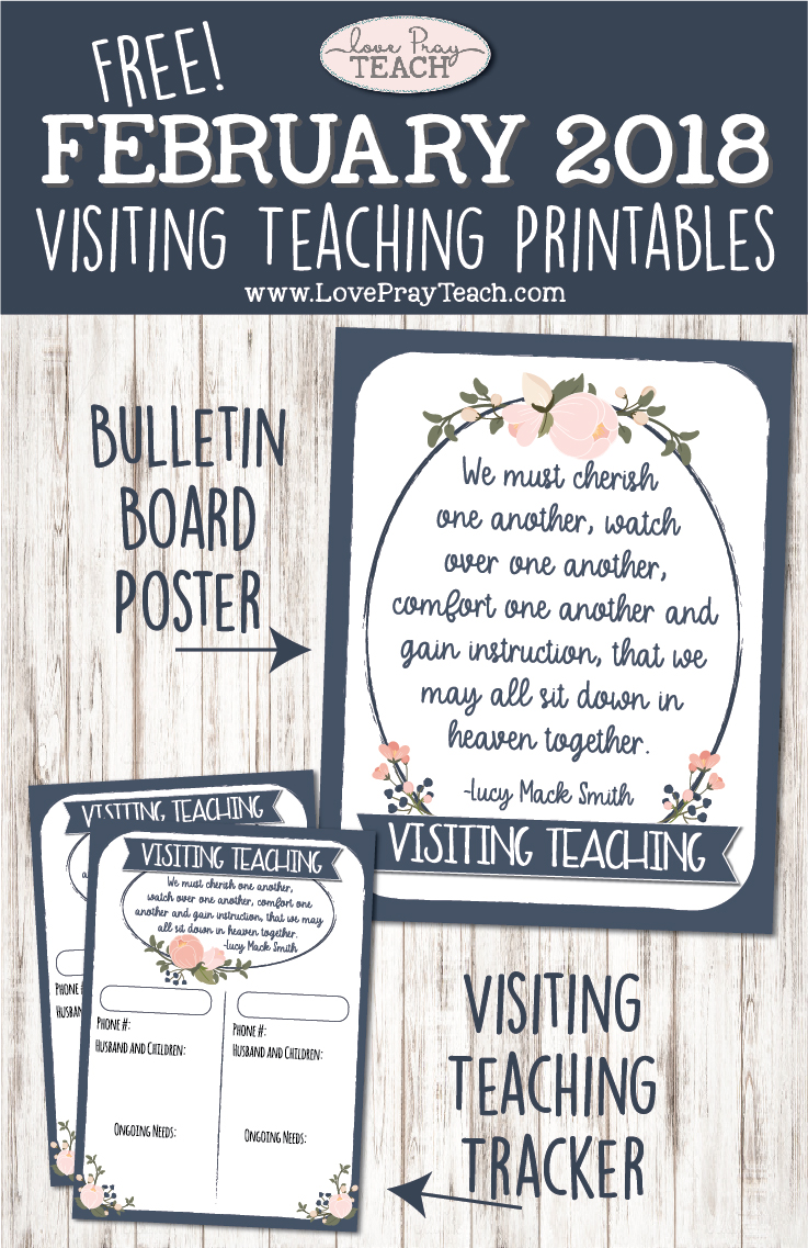 """February 2018 Visiting Teaching Printables - """"Get to Know Her and Her Family"""" Printable tracker card and bulletin board poster www.LovePrayTeach.com"""