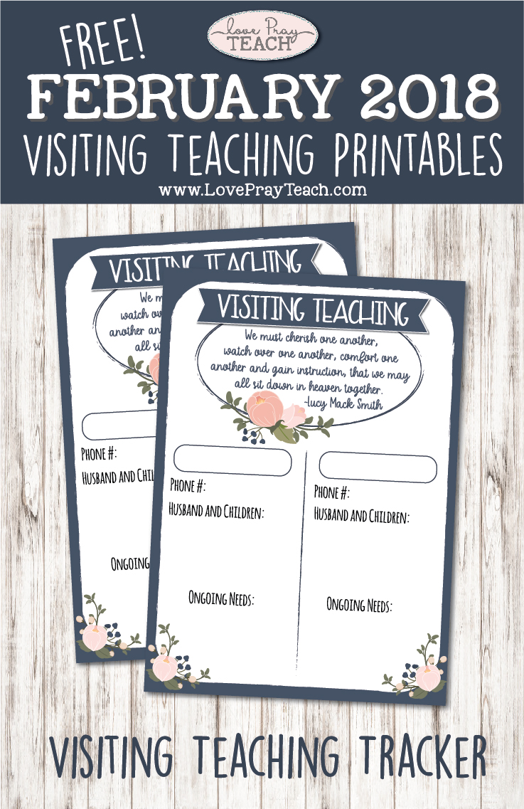 February 2018 Visiting Teaching Printables -
