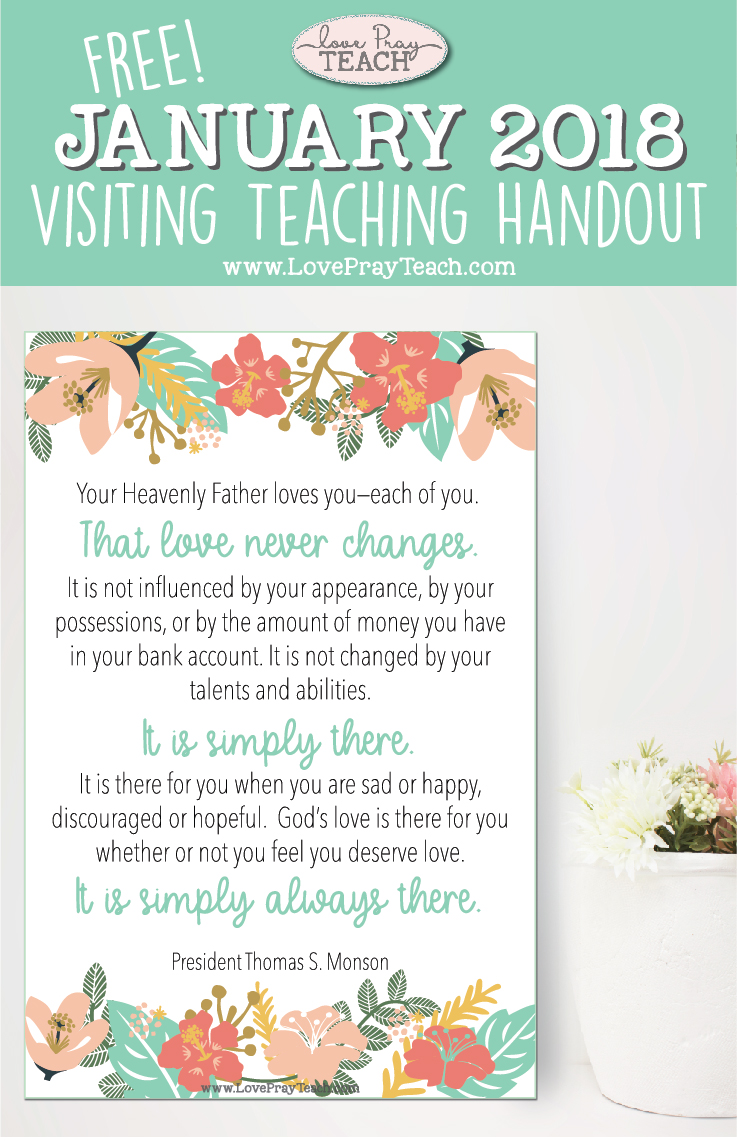 Free January 2018 Printable Visiting Teaching Handout and Bulletin Board Poster from www.LovePrayTeach.com