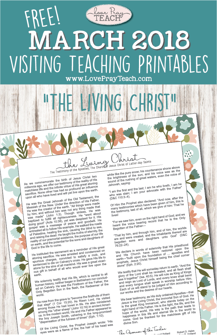 picture about The Living Christ Free Printable titled March 2018: Checking out Training Fundamental principles Pray for Every single