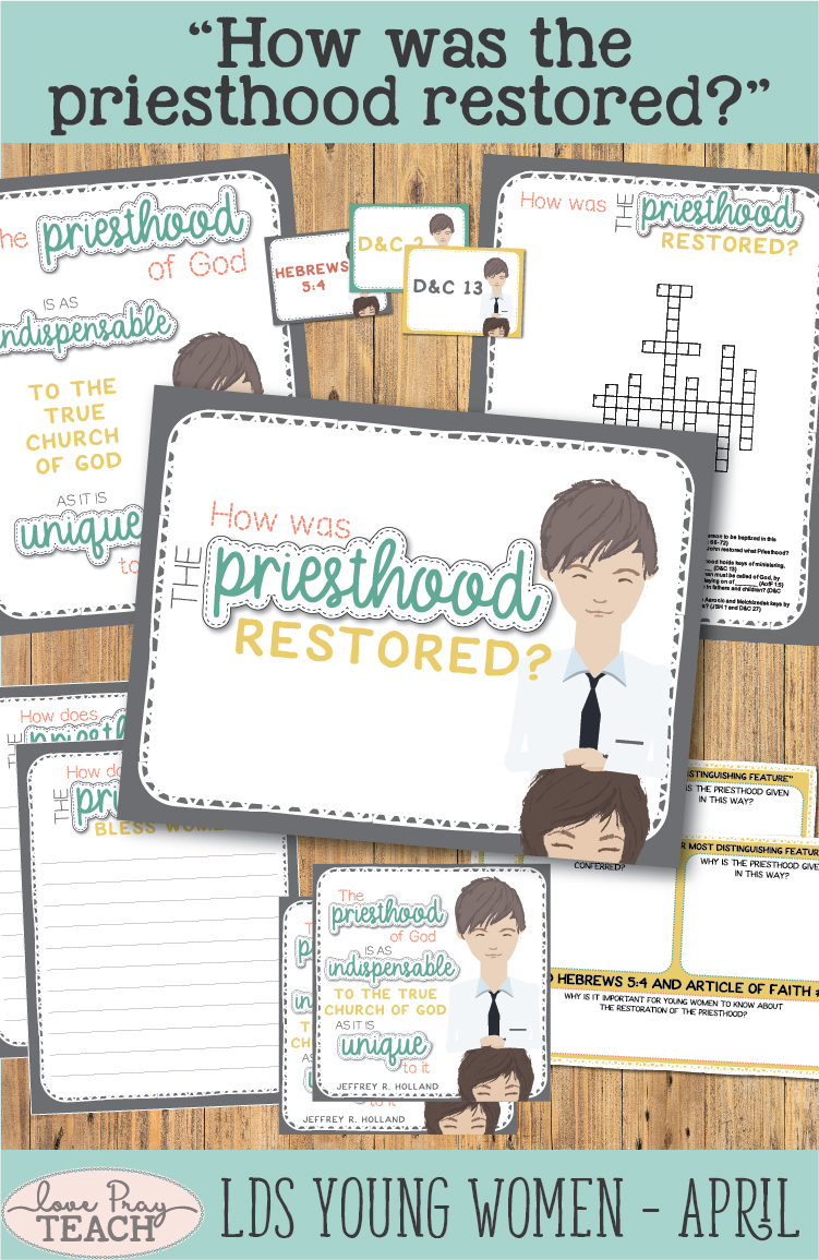 """How was the priesthood restored?"" Young Women Come, Follow Me lesson helps for Latter-day Saints www.LovePrayTeach.com"