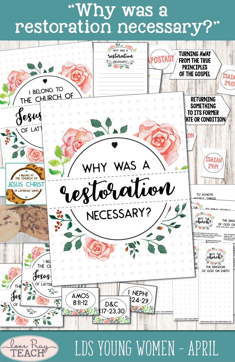 """Why was a restoration necessary?"" Young Women Come, Follow Me lesson packets by www.LovePrayTeach.com"