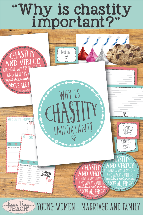 """""""Why is chastity important?"""" LDS Young Women Come, Follow Me August Printable Lesson Packet including handouts, journal cards, object lesson ideas, worksheets, posters, and more! www.LovePrayTeach.com"""