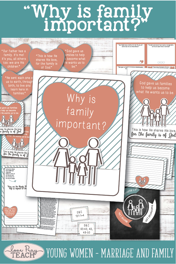 """""""Why is family important?"""" LDS Young Women August Come, Follow Me Printable lesson packet including handouts, teaching ideas, worksheets, board activities, and more! www.LovePrayTeach.com"""