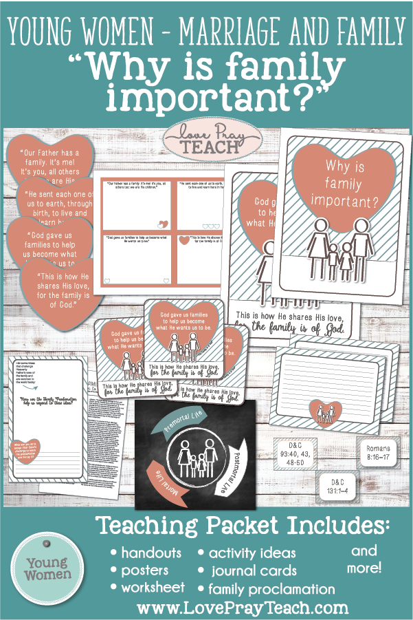 Lds Young Women August Why Is Family Important Printable Lesson
