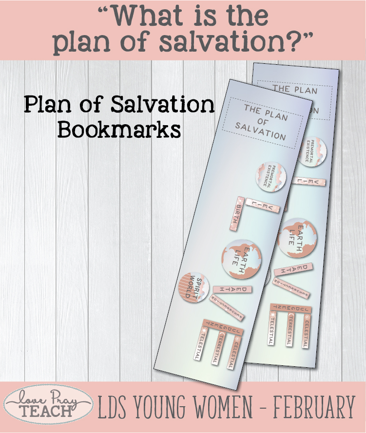 Free Plan of Salvation Bookmarks for Young Women and Youth! www.LovePrayTeach.com