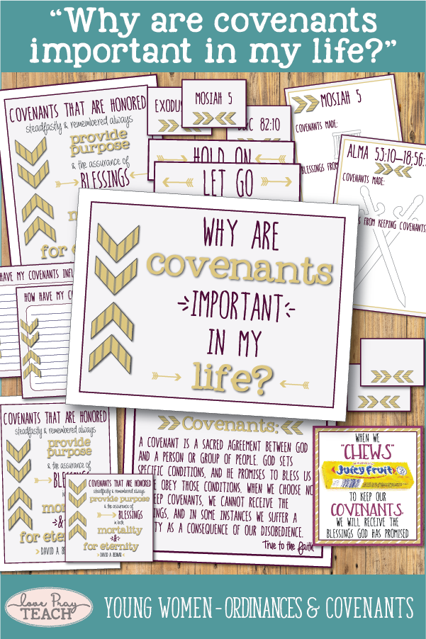 """Why are covenants important in my life?"" Young Women Come, Follow Me printable lesson packets for Latter-day Saints www.LovePrayTeach.com"