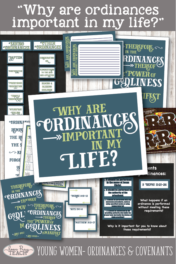 """Why are ordinances important in my life?"" Young Women Come, Follow Me printable lesson packet for Latter-day Saints www.LovePrayTeach.com"