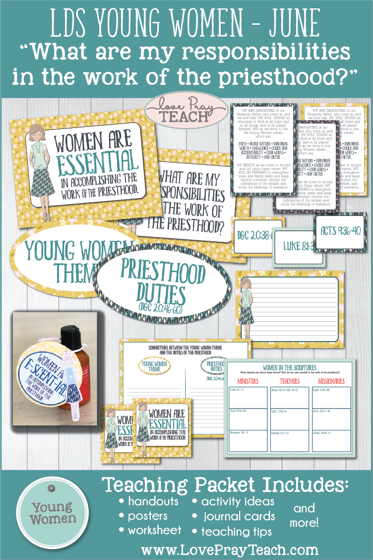 """What are my responsibilities in the work of the priesthood?"" Young Women Come, Follow Me printable lesson packet for Latter-day Saints www.LovePrayTeach.com"