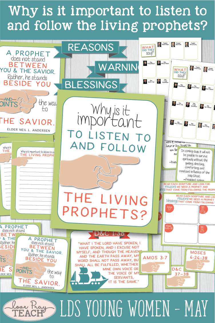 """Why is it important to listen to and follow the living prophet?"" Young Women Come, Follow Me lesson helps for Latter-day Saints www.LovePrayTeach.com"