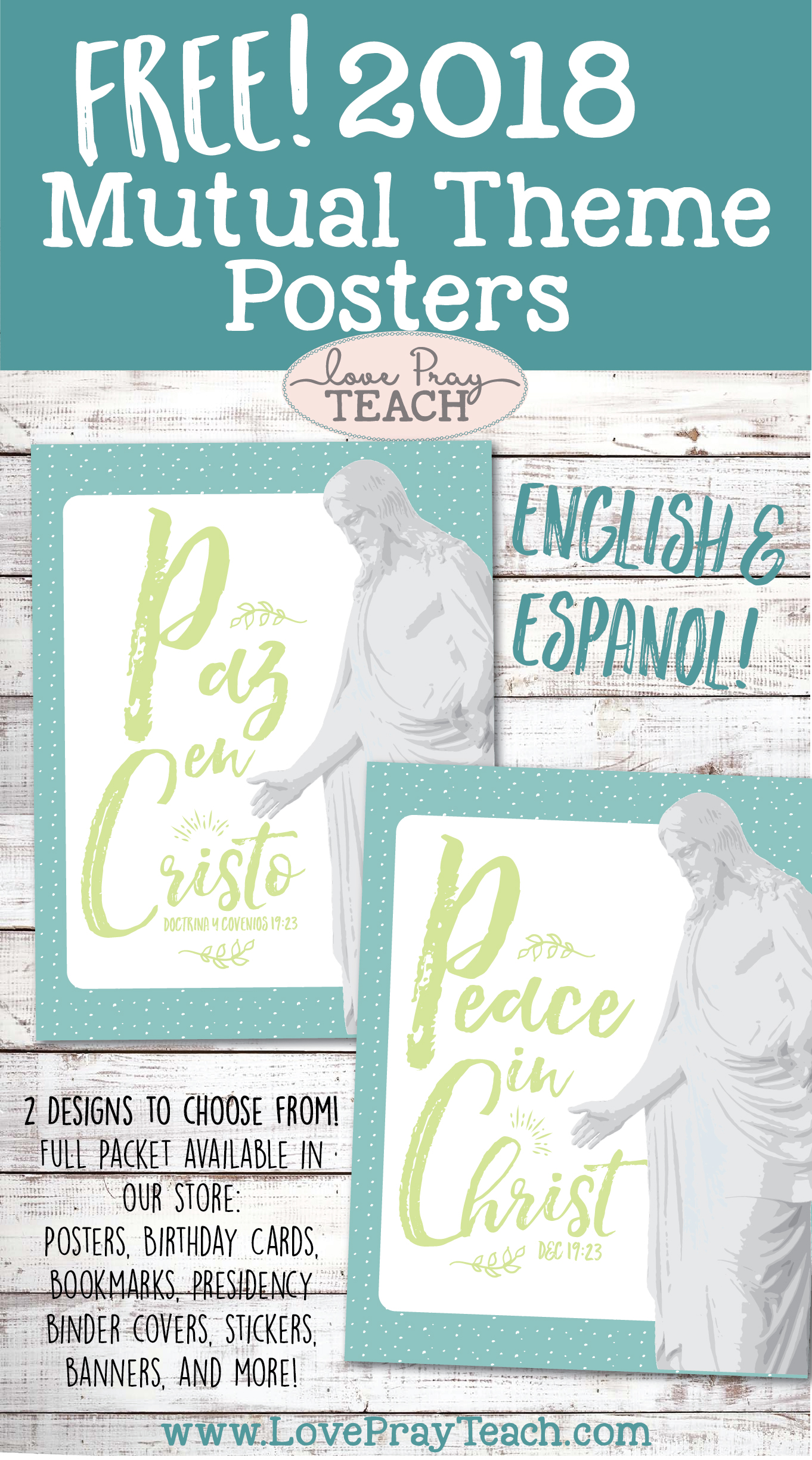 Free 2018 Mutual Theme Printables in English and Espanol