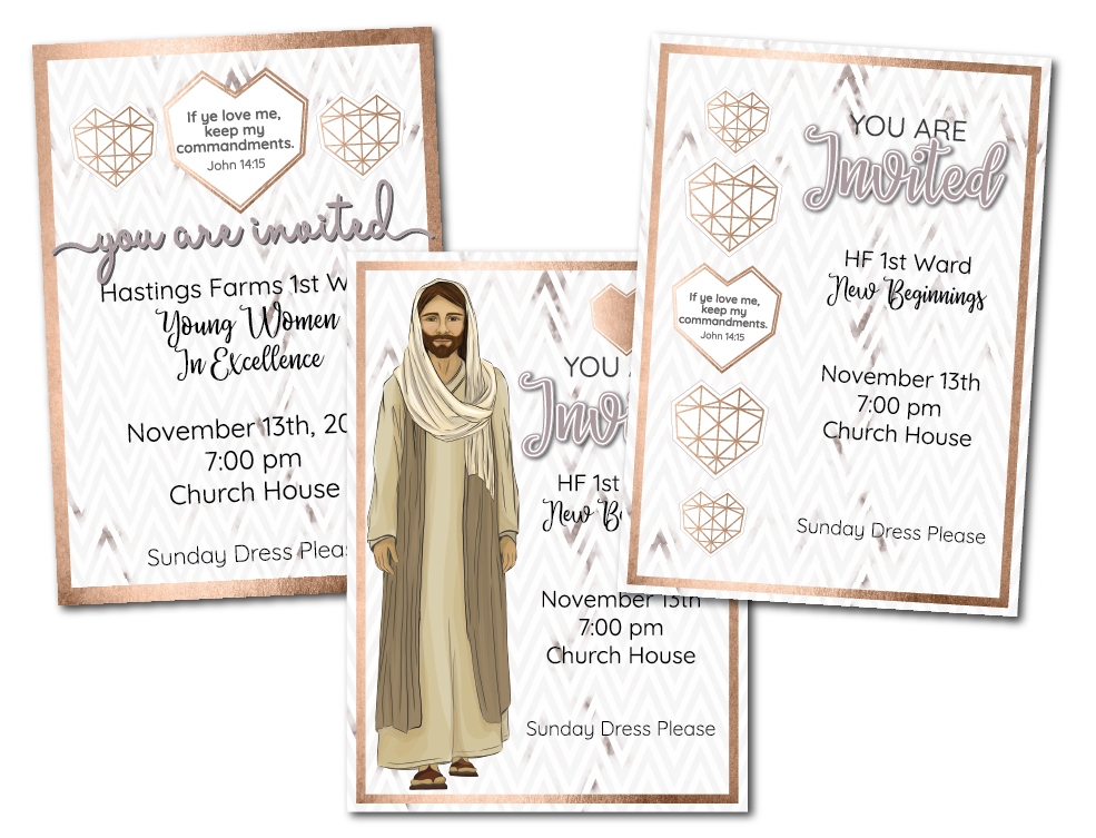 2019 Mutual Theme EVENTS PRINTABLE PACKET for Latter-day Saint Young Women including editable invitations, banners, cupcake toppers, and more! www.LovePrayTeach.com