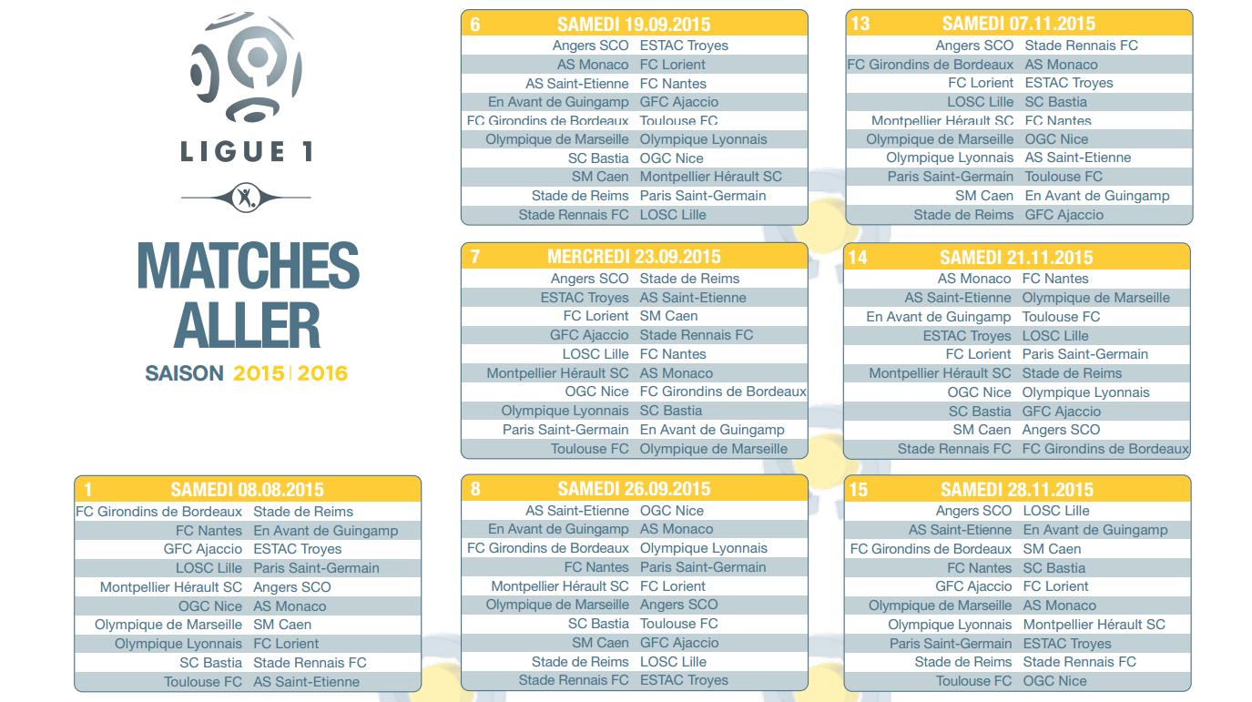 Calendrier L1 Psg.Calendrier Pdf Ligue 1 2015 2016 A Telecharger