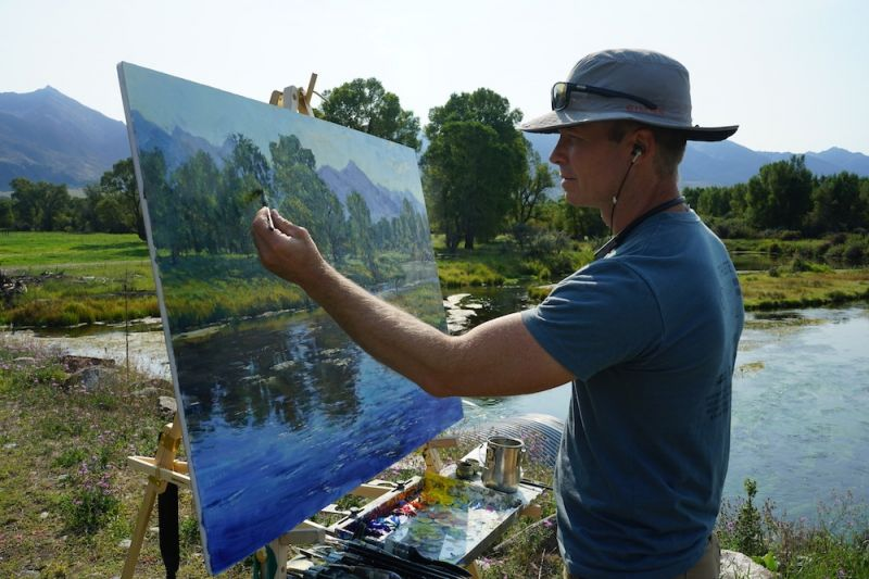 Aaron Schuerr at the easel