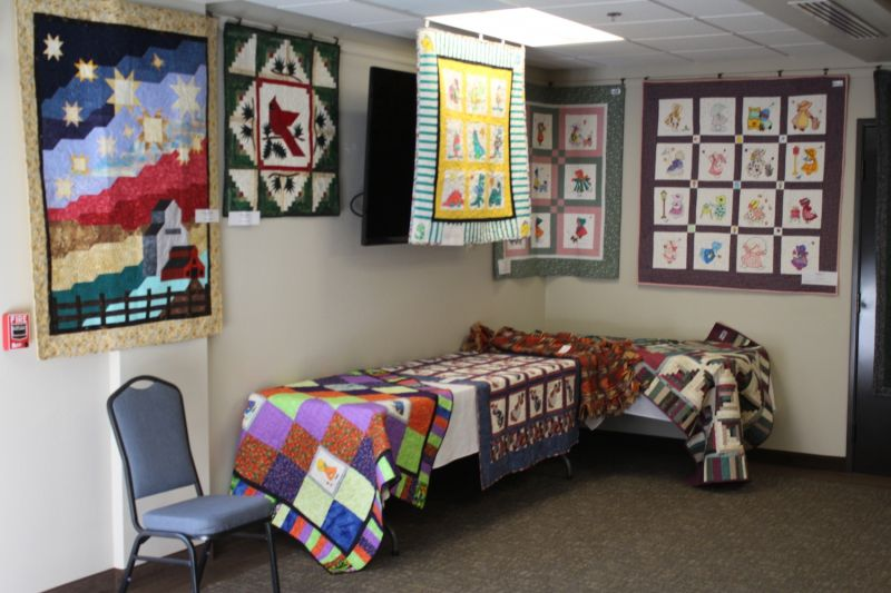 View about 40 different quilts at the show