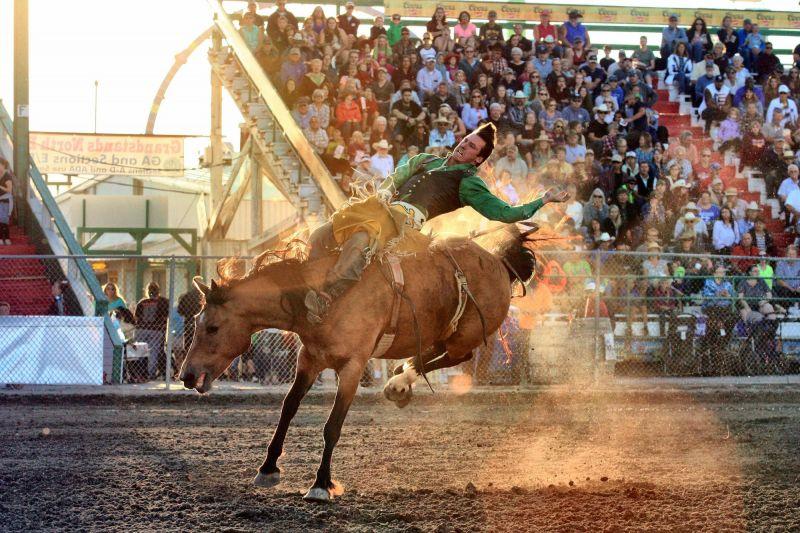 Bareback action at NW Montana Fair & Rodeo