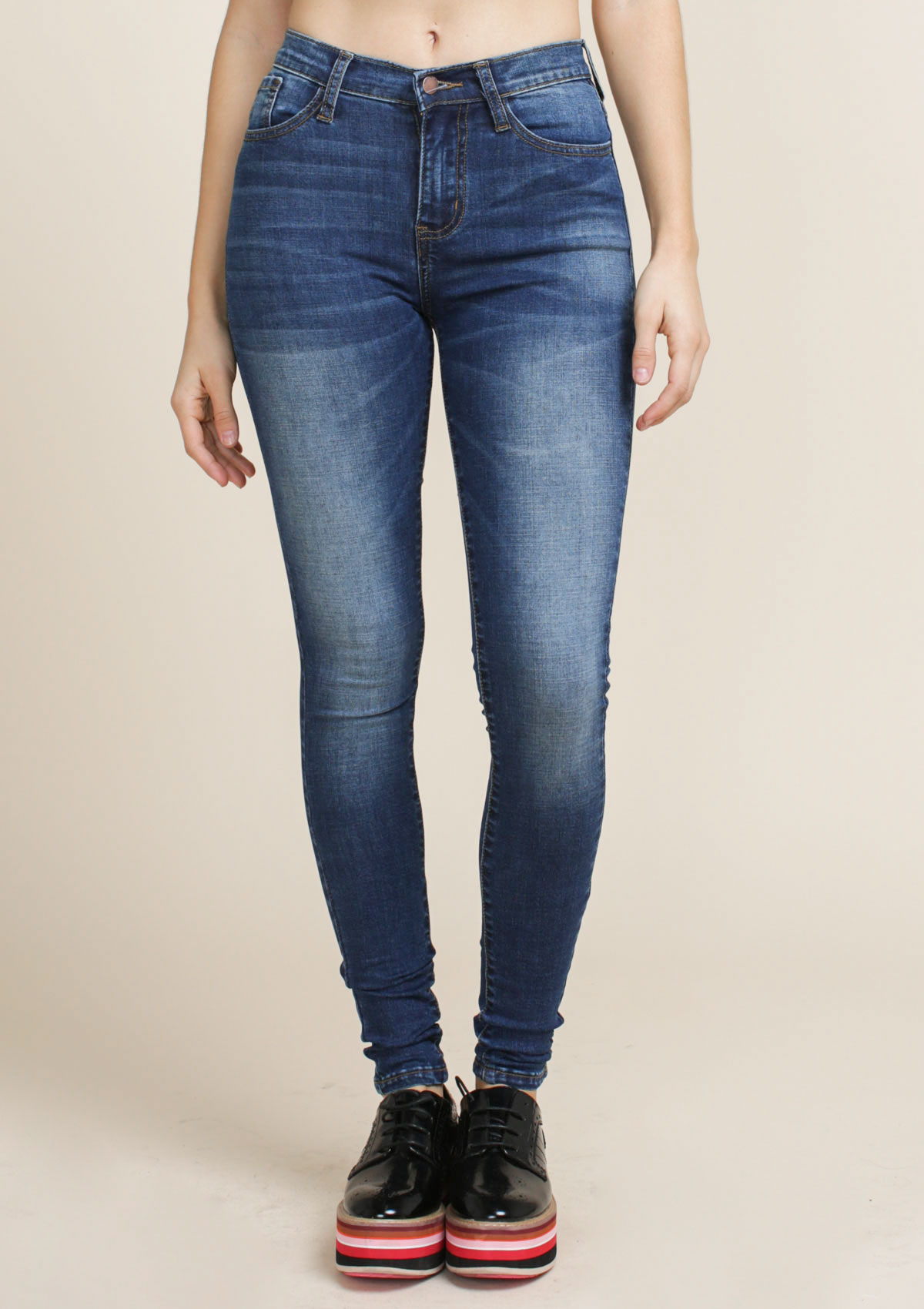 Solid Mid Rise Skinny Jeans