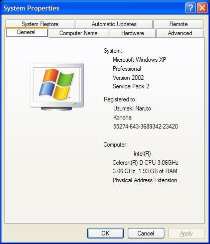 System properties window