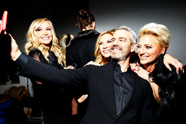 "From left, Shannon Beador (""The Real Housewives of Orange County""), Ramona Singer (""The Real Housewives of New York City""), Andy Cohen (of Bravo) and Dorinda Medley (also of ""New York City"") mug for a selfie.Credit..."