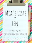 Mia's Lists of Ten