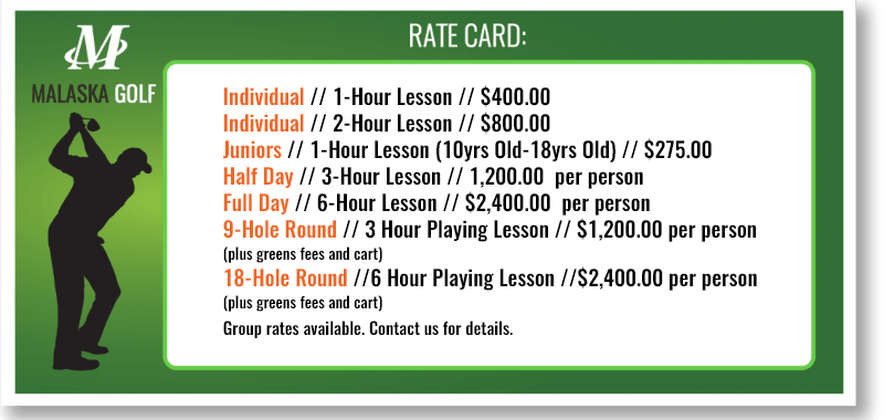 Mike Malaska, Malaska Golf, Rate Card, Private Lessons, Cost, Lesson Cost,