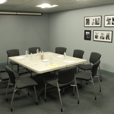 The classroom can be configured for meetings or table reads. Photo by Casey E. Lewis.