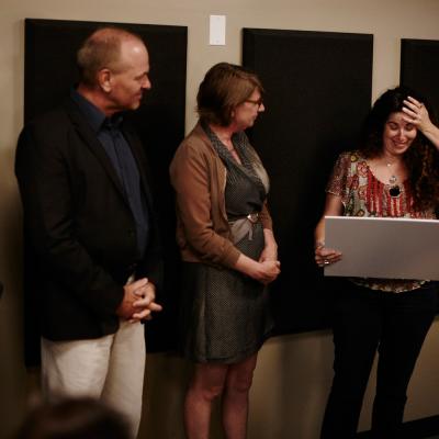 Voice actor Rebecca Davis awarded inaugural Don LaFontaine Spirit Award. Photo by Maarten de Boer.