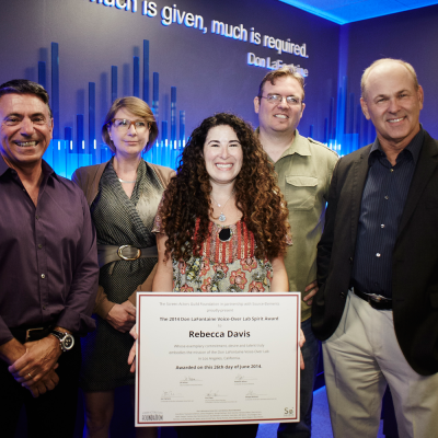 Voice actor Rebecca Davis awarded inaugural Don LaFontaine Spirit Award. Photo by Maarten de Boer.