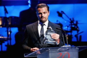 BEVERLY HILLS, CA - NOVEMBER 05:  Honoree Leonardo DiCaprio accepts the Patron of the Artists Award onstage during the Screen Actors Guild Foundation 30th Anniversary Celebration at Wallis Annenberg Center for the Performing Arts on November 5, 2015 in Beverly Hills, California.  (Photo by Mark Davis/Getty Images for Screen Actors Guild Foundation)