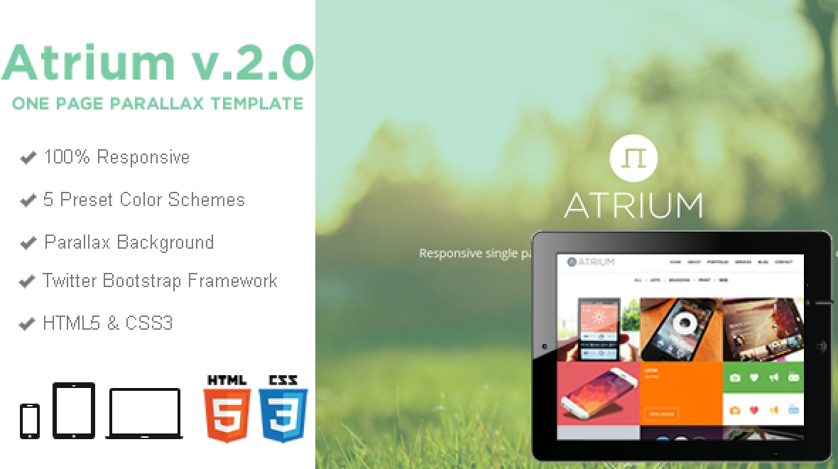 Atrium One Page Parallax Html Template Themes Templates